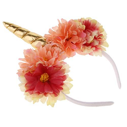 F Fityle Blumen Einhorn Haarreif mit Horn Haarband Stirnband Kostüm Kopfbedeckung zum Karneval für Erwachsene und Kinder - Gold