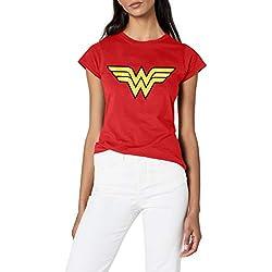 DC Comics - Camiseta con cuello redondo de manga corta para mujer, S, color rojo