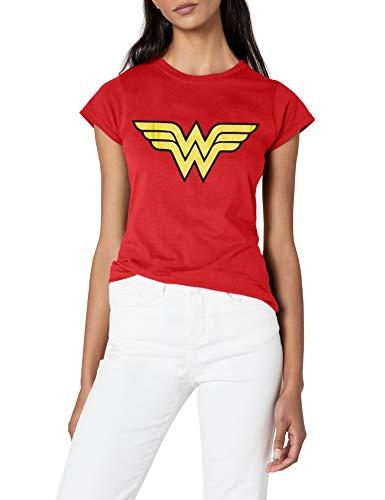 f1852abdf782e DC Damen T-shirt Wonder Women - Logo (Womens), Rundhals - Rot - Rot - 40  (Herstellergröße: Manufacturer Size:X-Large)