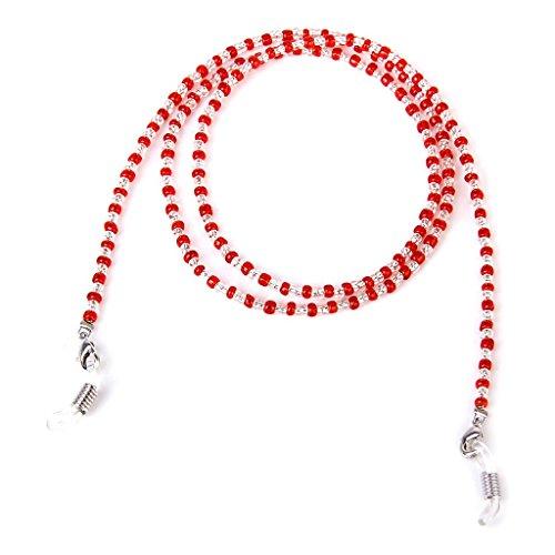 Laccio perline rosso per occhiali da sole spettacolo catena laccetti collana