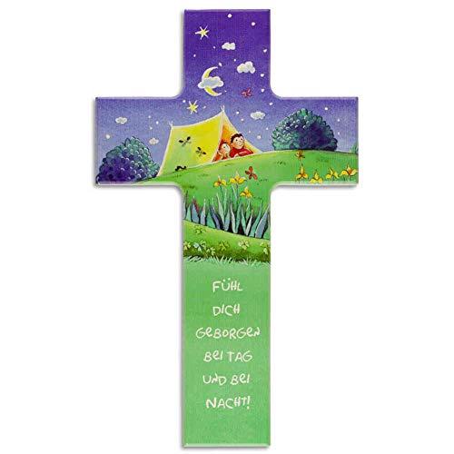 kruzifix24 Devotionalien Kinderkreuz Fühl Dich geborgen - Kinder im Zelt unterm Sternenhimmel - Taufkreuz Geschenk zur Geburt Geschenkidee Holzkreuz 20 x 12 cm