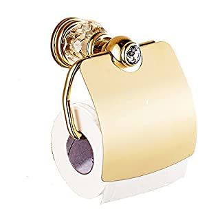 AUSWIND Antique Gold Toilet Paper Holder Brass Polish Finished Crystal & Glass Tissue Holder Wall Mounted