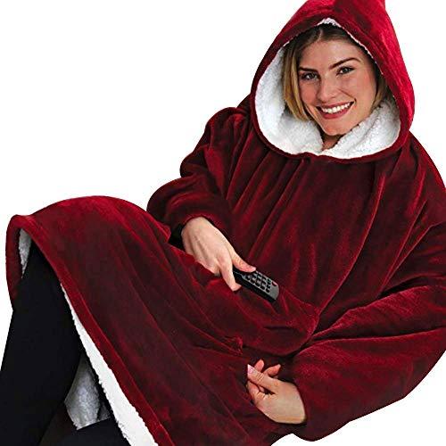 Suukee Huggle Hoodie, Warme, weiche, gemütliche Sherpa-Decken-Sweatshirt-Kapuzen-Robe-Pullover Einheitsgröße Alle Männer Frauen Winter Warme Mäntel Reversible, Kapuze & Große Tasche Reversible Winter Mantel