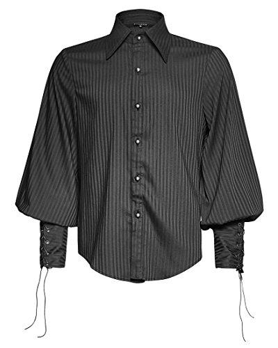 Camicia nera a righe verticalmente, Maniche palloncini Steampunk Punk Rave nero Uomo S