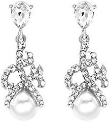 Novia boda con colgante hecho con cristal y perla pendientes pendientes