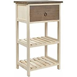Cómoda en estilo rústico alquería, estantería, mesa auxiliar, mesita de noche, armario en marrón natural y blanco