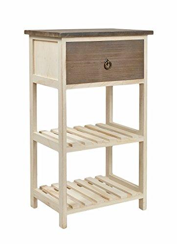 Tavolo d'appoggio Tavolino da salotto Commodino con cassetto - legno - bicolore