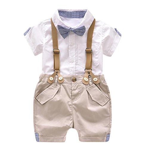 Jungen Outfits Baby Sommer Gentleman Fliege Kurzarm Shirt + Abnehmbare Hosenträger Shorts Kinderkleidung Set (12M, Weiß) (Herren Kleid Anzug Set)
