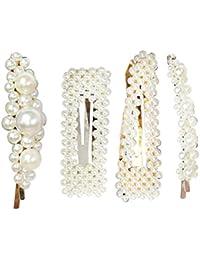 Lurrose - Pasadores de Pelo para Mujer y niña, 4 Unidades, diseño de Perlas