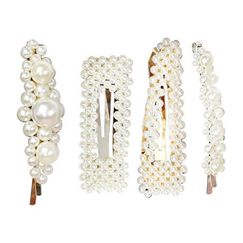 Lurrose 4pcs élégance perles blanches décor cheveux clips kit barrettes de cheveux de mariée pour les femmes filles