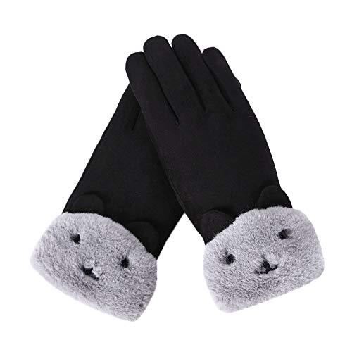 Femme Gants Tactiles Chaud Hiver Gants Avec DoubléS De Molleton Sports Cyclisme Velours Gloves Touch Screen Cosplay Souris– Taille : About 24 X19 cm (Noir)