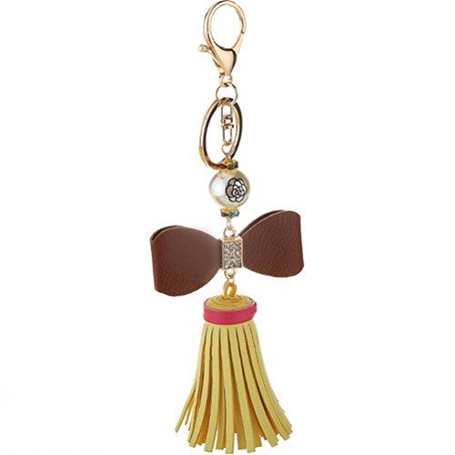 Mjhwsx Catena chiave di cuoio di moda perle di prua , 4