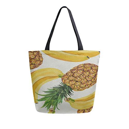 Gelbe Ananas Banane Tragbare Große Doppelseitige Casual Canvas Tragetaschen Handtasche Schulter Wiederverwendbare Einkaufstaschen Reisetasche Für Frauen Männer Lebensmittelgeschäft Reise (Gelb Artwork Canvas)