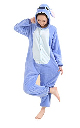 Promstar Jumpsuit Cosplay Fasching Halloween Kostüm Cartoon Costume Onesie Animal Pyjamas Cosplay Blau (Stich Kostüme Pajama)
