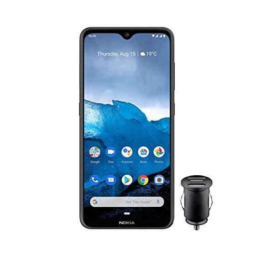Nokia 6.2 Smartphone - Deutsche Ware (16cm (6, 3 Zoll), 64GB interner Speicher, 4GB RAM, Dual Sim) inkl KFZ-Adapter, Keramik schwarz
