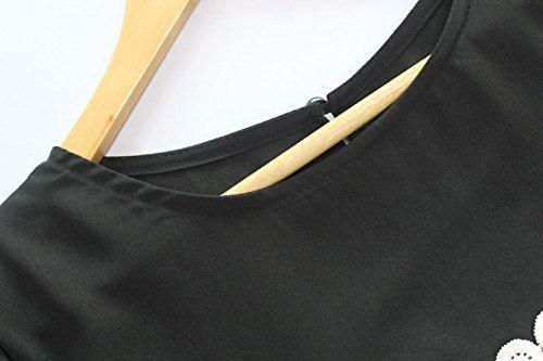 Damen Herbst Winter Reizvolle Langarm Loose Minikleid Lässig Rundkragen Blusenkleider Lange Blusen Spitze Spleißen Jerseykleider Schwarz Schwarz