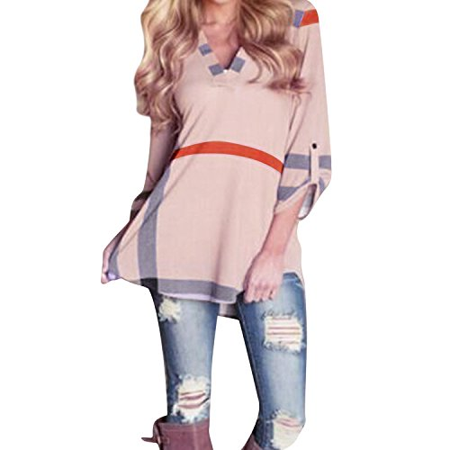 West See Damen V-Ausschnitt 3/4 Ärmel Loose Print Hemden Bluse T-Shirt Oberteile Tops Langarmshirts (EU 42(Etikettgröße 3XL), Pink)