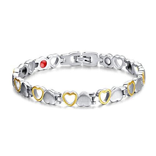 Preisvergleich Produktbild WenL Damen-Liebe-Herz-Entwurf Titan Magnet-Armband Silber (19 5 Cm)