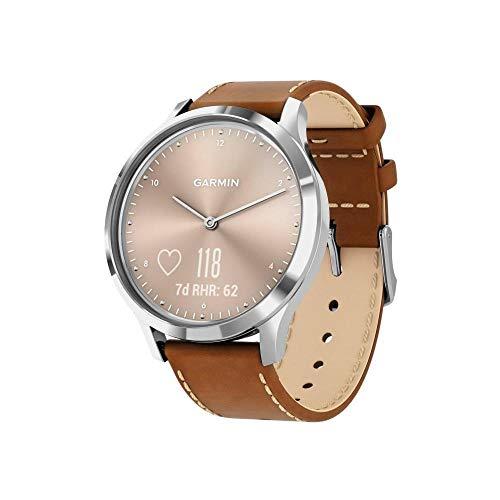 Garmin Vivomove HR Premium Smartwatch Analogico con Schermo LCD Touch, Sensore Cardio Integrato, Argento con Cinturino in Pelle Marrone Italiana