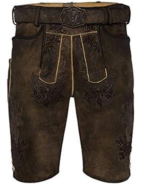 MOSER Trachten Lederhose kurz mit Gürtel braun-antik Elvis 002416 von Spieth & Wenksy, Material Ziegenleder