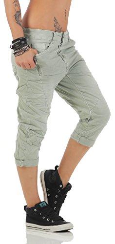 11150 Fashion4Young MOZZAAR Damen Jeans Röhrenjeans 7/8 Haremshose Baggy Boyfriend Khaki