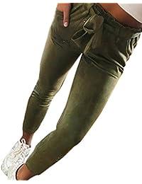 Rawdah Pantalon Décontracté à Rayures Taille Haute Mince Femmes Rayé Taille  Haute Harem Pantalon Femmes Bowtie Taille Élastique… dfeb6b58c3c