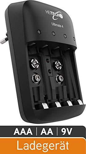 HEITECH Akku Ladegerät Ultimate 4 - Schnellladegerät 4-Fach zum Laden von Akkus & wiederaufladbare Batterien - Batterieladegerät für AAA, AA & 9V NiMH Akku Batterie - Akkuladegerät