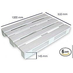Dydaya 6 Palets Europeos Blancos de 80x120 de Madera Lijados y Pintados de Blanco para Muebles de Palets - Venta de Palets (Blanco, 6)
