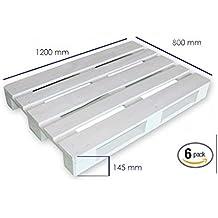Dydaya 6 Palets Europeos Blancos de 80x120 de Madera Lijados y Pintados de Blanco para Muebles