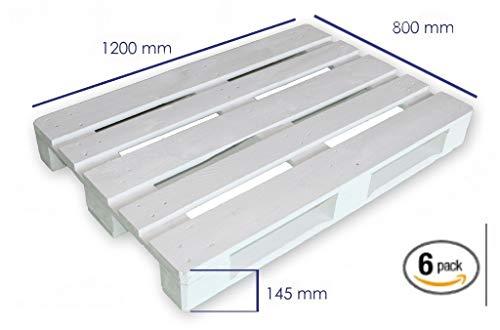 Dydaya 6 Palets Europeos Blancos de 80x120 de Madera Lijados y Pintados...