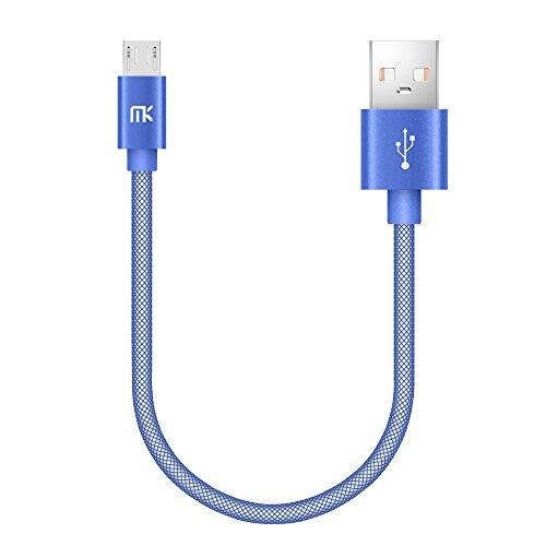 Micro USB Kabel, MK PET Geflochtene Tangle-Free Hohe Geschwindigkeit Datenkabel Ladekabel mit Metallstecker für Android Smartphones, Samsung, HTC, Huawei, LG, Sony, Nexus, Nokia und Mehr (0.66ft / 0.2m, Blau)