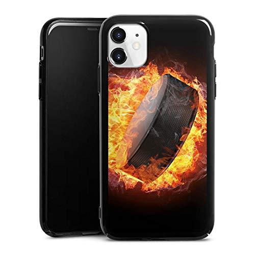 DeinDesign Hülle kompatibel mit Apple iPhone 11 Handyhülle Case Eishockey Flammen Slapshot