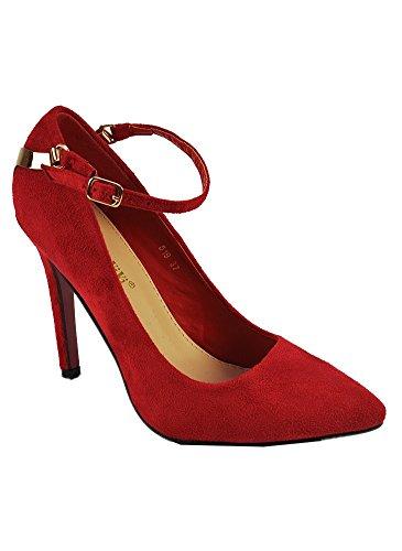 Escarpins Rouge en Suédine à Bride Rouge