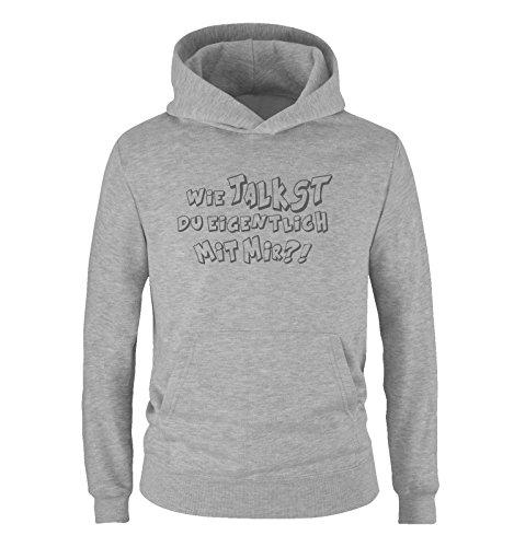 Comedy-Shirts - WIE Talkst Du EIGENTLICH MIT Mir ?! - Jungen Hoodie - Grau/Grau Gr. 98/104