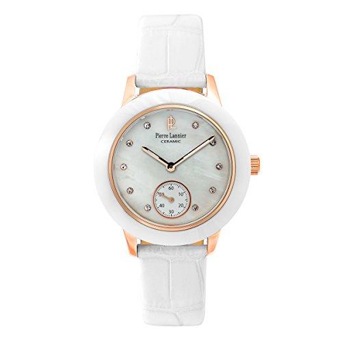 Pierre Lannier–063F990–Elégance cerámica–Reloj Mujer–Cuarzo Analógico–Reloj Nacre–Pulsera Piel Blanco