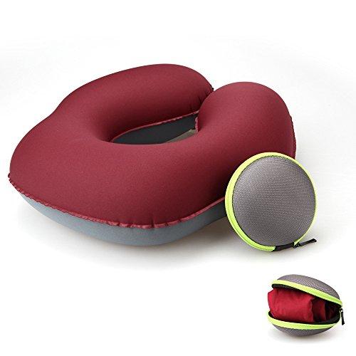 Koyoso Almohada Inflable de acampada para el Cuello, Almohadas Hinchable de Viaje con Estuche de Transporte - Tiene Forma de U - Roseo