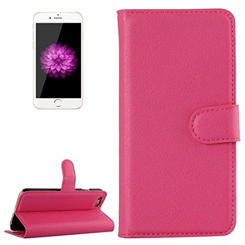 Wkae Case Cover Für iPhone 6 Plus & 6s Plus-Litchi Texture Horizontal-Schlag-Leder-Kasten mit Halter & Card Slots & Wallet ( Color : White ) Magenta