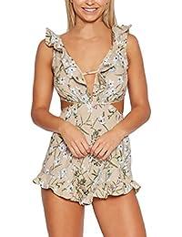 12a67fd3c7c96 Mujer Monos De Vestir Verano Fiesta Cortos Elegantes Dulce Lindo Chic Flores  Jumpsuit V Cuello Sin