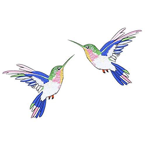 ckt Patch Eisen auf Nähen auf DIY Nähen Vogelmotiv Kostüm Bekleidungszubehör gestickte Applikation 1 Paar 12 x 15 cm ()