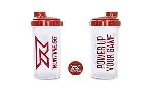 Runtime Eiweiß-Shaker | Sport-Flasche für Nutrition und Fitness | 700ml Fassungsvermögen | mit Sieb - 100% dicht | BPA-frei - inkl. Messskala - transparent