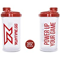 Runtime Eiweiß-Shaker | Sport-Flasche für Nutrition und Fitness | 700ml Fassungsvermögen | mit Sieb - 100% dicht | BPA-frei - inkl. Messskala - transparent (Red Transparent)