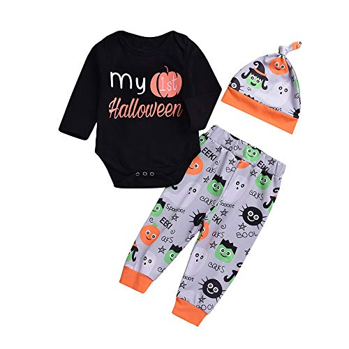 stüm Kinder Halloween kostüm Kinder kostüm Halloween Kinder Halloween kostüm Baby Halloween kostüm 3PCS Kinder Baby Brief Drucken Strampler + Cartoon Drucken Hose+ Hut Set Outfit ()
