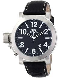 gino franco Men's 9617BK Westside Round Stainless Steel Genuine Leather Strap Watch