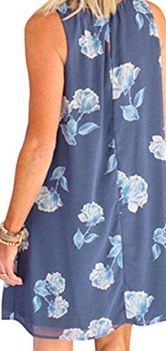 erdbeerloft - Damen Strandkleid Blumen Muster, XS-2XL, Viele Farben Blau