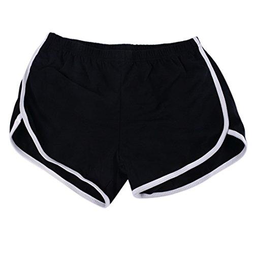 Nibesser Femme Short de Sport Casual Yoga Fitness Elastique Short Été Shorts Décontractés Mode Plage Short Noir