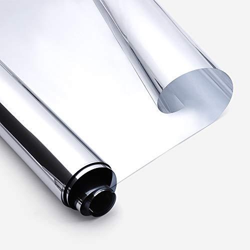 Rabbitgoo Vinilo Ventana Espejo Cristal Lámina Espejo Electricidad Estatica Protector Solar Privacidad Vinilos Deorativos Adhesivos Anti 85% Calor Anti 99% UV 44.5x200CM para Sala Oficina