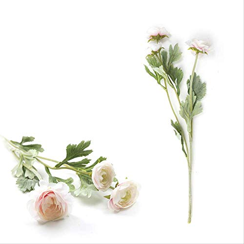 QYYDGH Retro Elegante schöne Schöne Familie Künstliche Ranunkel Seidenblumen 3 Köpfe Tau Lotus Dekoration Gefälschte Blume Champagner Blume -