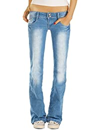 Bestyledberlin Damen Bootcut Stretch Jeans Hosen, Regular Fit Schlag Hüftjeans j35f