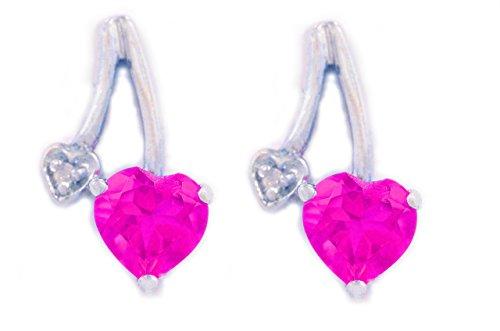 1CT Rosa Saphir & Diamant Ohrstecker Herz 925Sterling Silber Erstellt Rhodium Finish