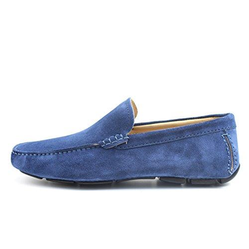 GIORGIO REA Chaussures Homme Car Shoes Bluette Mocassins Mâle Main Italiennes, Cuir, Élégant, Classique, Oxford Classic Shoes